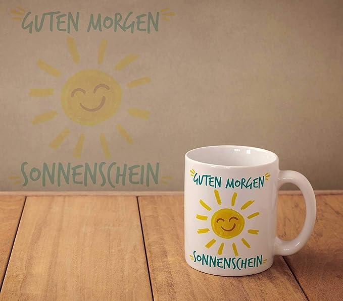 Vanverden Tasse Guten Morgen Sonnenschein Sonne Smiley Motivation Happy Fun Mug Farbeweißbunt
