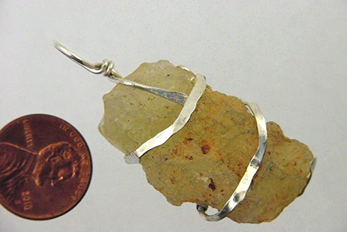 Amazon com: Hammered Sterling Silver Wire Wrapped Libyan
