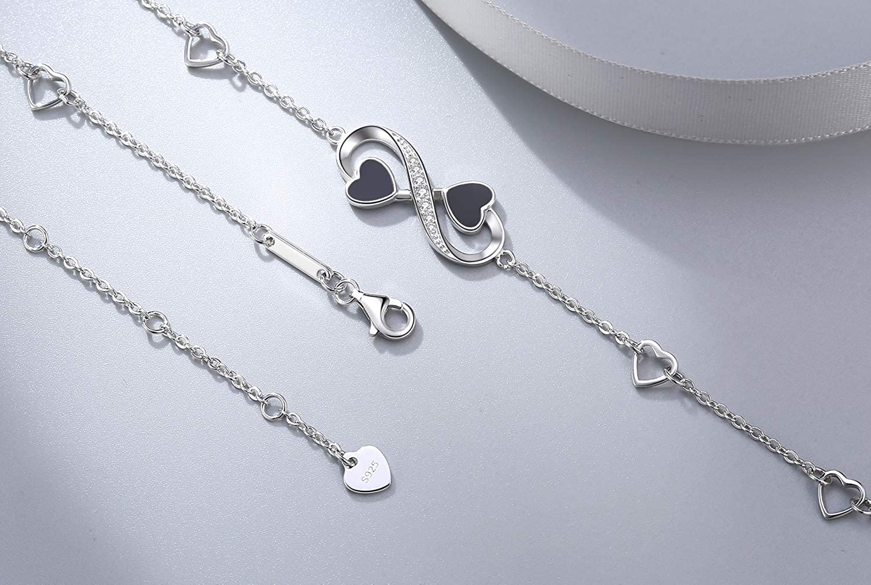 F.INFINITY Bracelet de Cheville Infini pour Femmes Brand Bracelet 925 Argent Fin R/églable avec Charme Bracelet