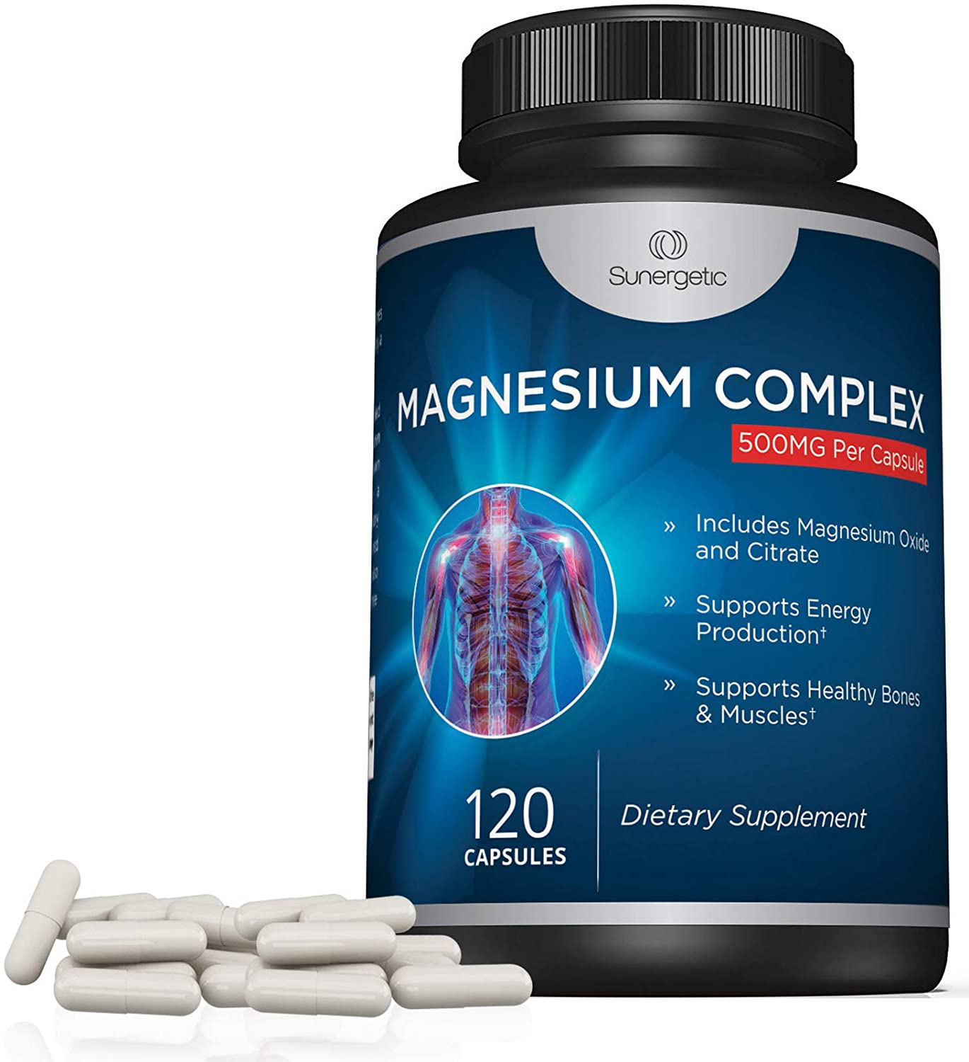 Premium Magnesium Citrate Capsules – Powerful 500mg Magnesium Oxide & Citrate Supplement – Helps Support Healthy Bones, Muscles, Teeth, Energy & Relaxation – 120 Vegetable Capsules: Health & Personal Care