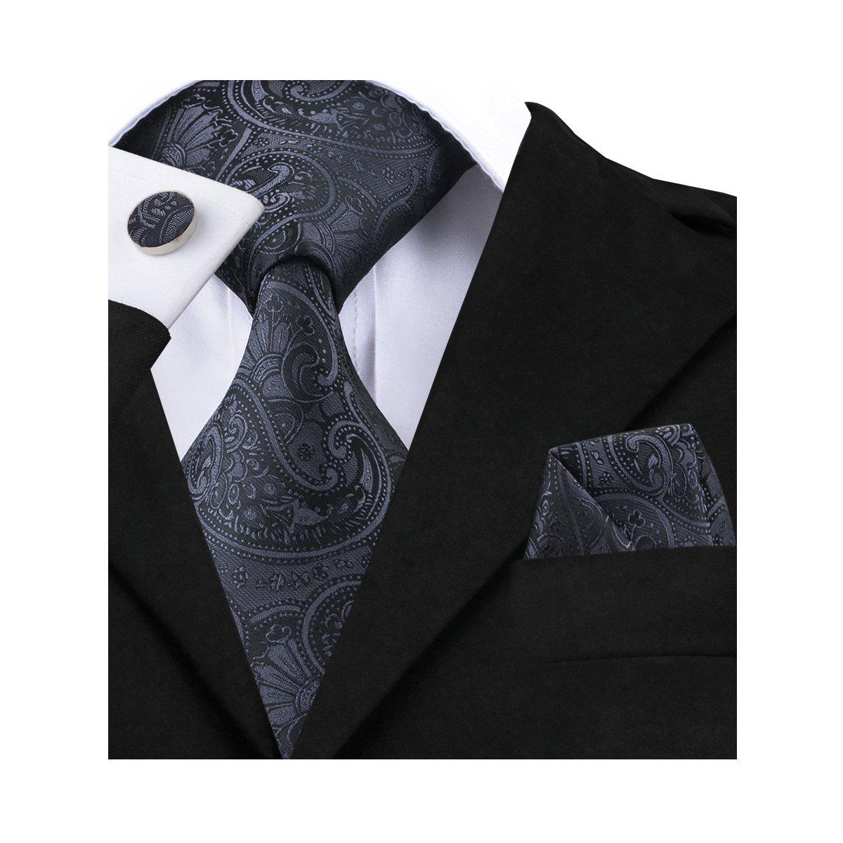 Barry.Wang Solid Black Tie Set Hanky Cufflinks Business Funeral Necktie