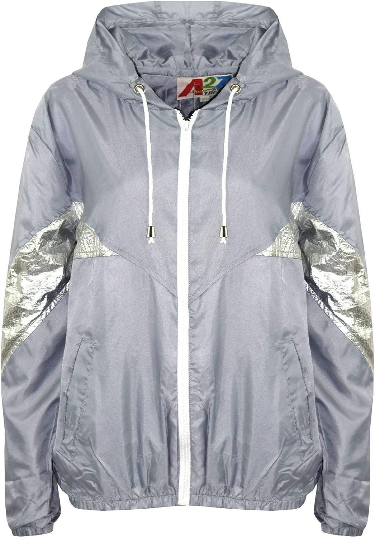 Kids Girls Boys Windbreaker Jackets Block Contrast Hooded Navy Cagoule Raincoats