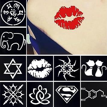 Amazon Com 10 Sheets Small Henna Tattoo Stencil Cartoon Painting