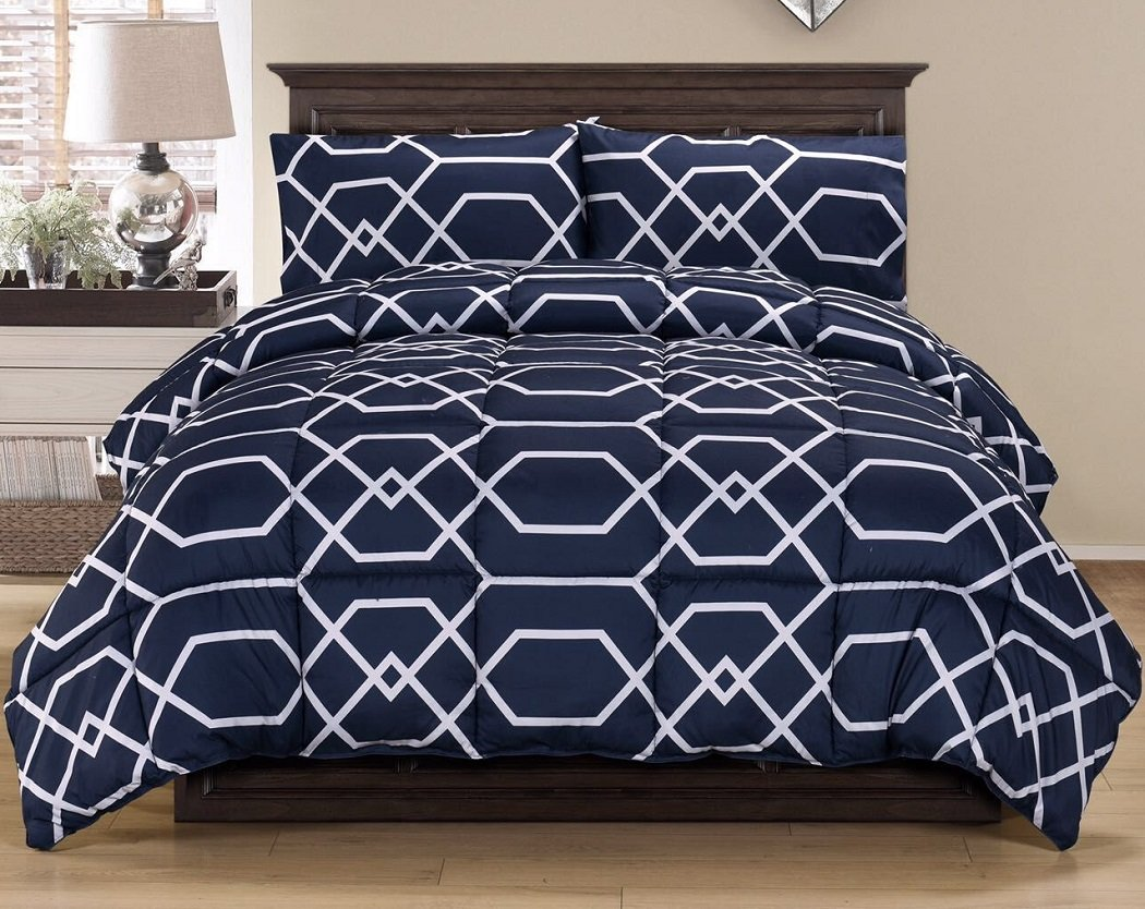 3-Piece Contemporary Geometric Reversible Down Alternative Comforter Set Navy