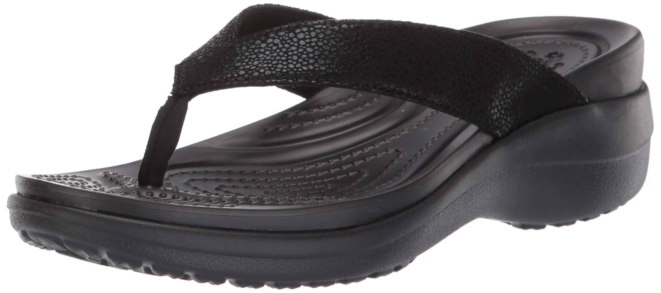 Crocs Women's Capri MetallicText Wedge Flip Flop Black, 7 M US by Crocs