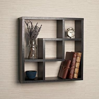 Danya B. FF4513B Modern Minimalistic Wall Decor - Geometric Square Compartment Wall Mount Shelf with 5 Openings - Black