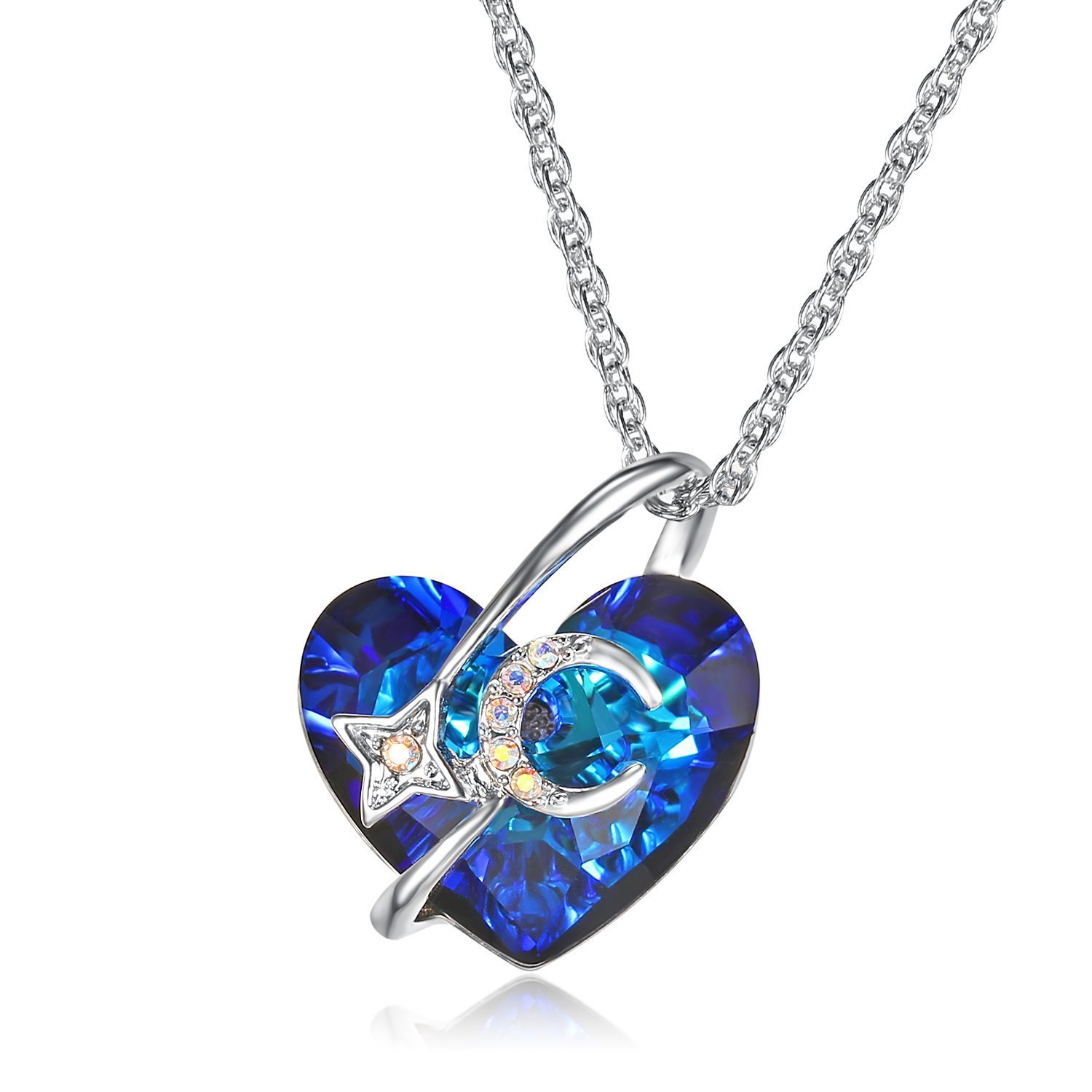 Lee Island Fashion Jewelry 18K White Gold Plated Necklace with Blue Heart Austrian Crystal Moon Star Pendant and Enhancer,18 Inches Chain for Woman Girl Gift-Halloween Costumes Princess Necklace B07C31G3GJ_US