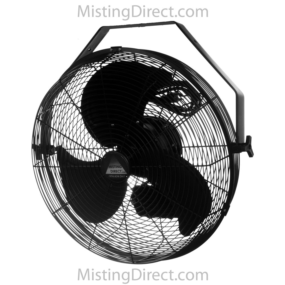 Wet Location Fan 18 Inch Indoor/Outdoor Wall/Ceiling/Pole Mount, Black by Misting Direct