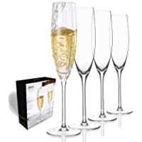 JBHO Hand Blown Crystal Champagne Flutes - Gift-Box for any Holiday - Lead-Free Premium Crystal Clear Glass - Set of 4…