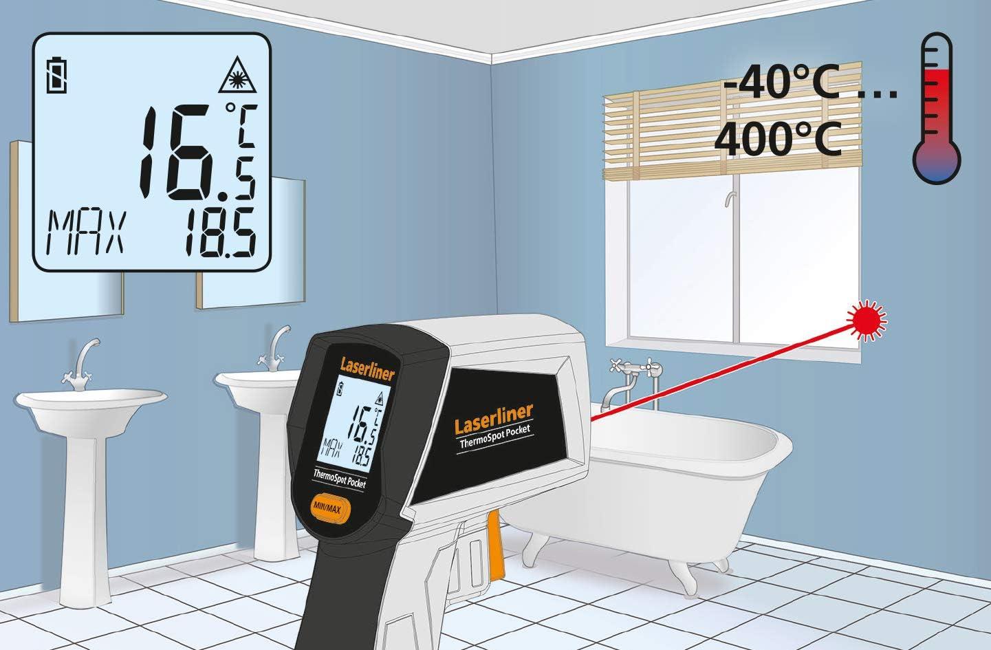 /Écran R/étro/éclair/é Temp/érature surface Thermom/ètre infrarouge Compact Fonction de Sauvegarde Sans Contact LASERLINER