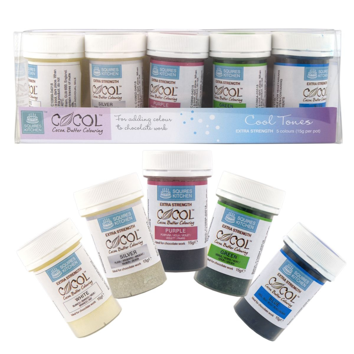 Amazon.com: Squires Kitchen Cocoa Butter Colouring - Cool Tones Set: Kitchen & Dining