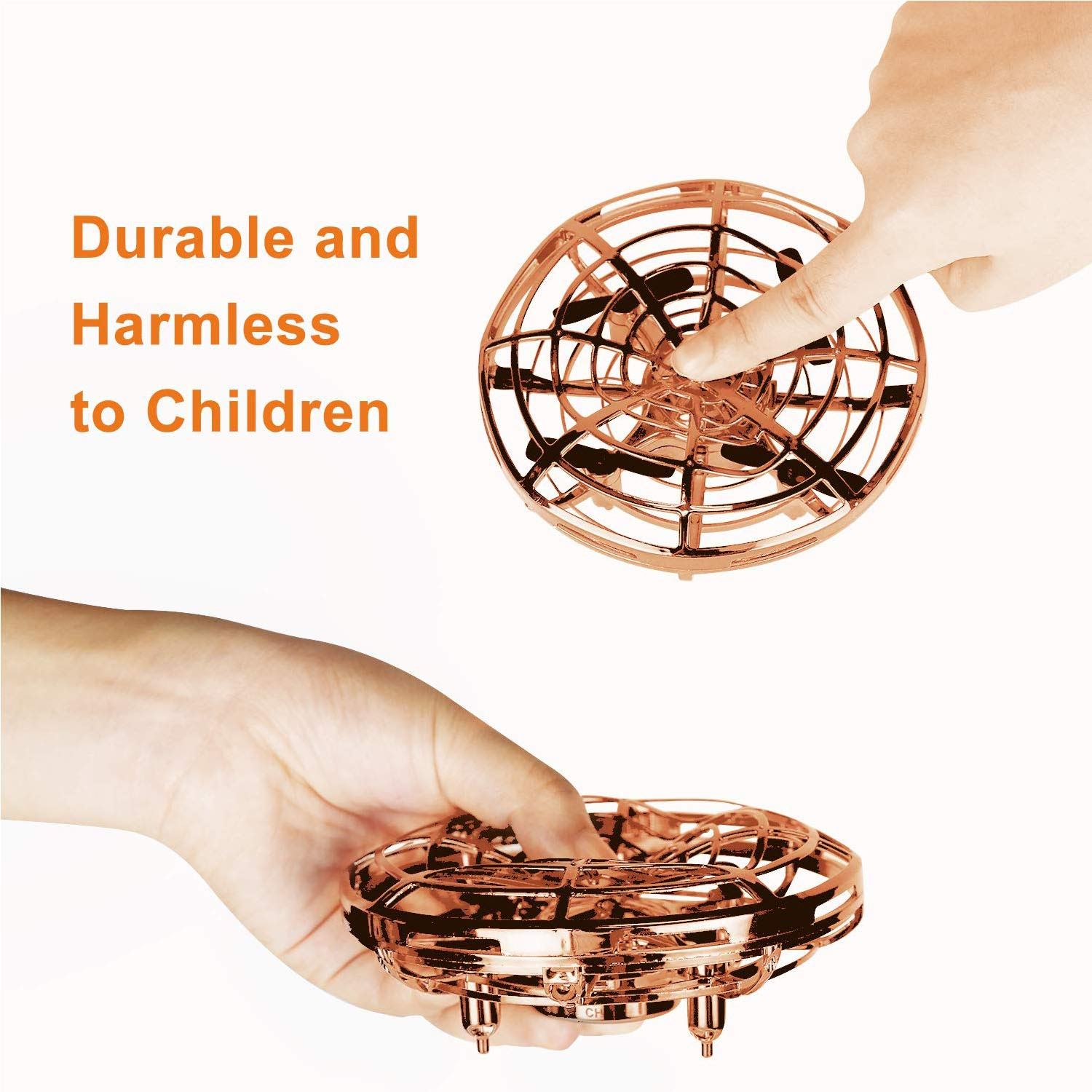 GhoSTar Toys Hand Controlled Flying Ball, Interactive Infrared Induction Helicopter Micro Drone with Shining LED Lights and 360°Rotation, Flying Toys and Beginner Drones for Kids Birthday Gifts (Gold) by GhoSTar Toys (Image #6)