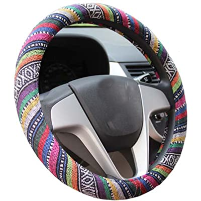 Istn Medium Ethnic Style Coarse Flax Cloth Automotive Steering Wheel Cover Anti Slip and Sweat Absorption Auto Car Wrap Cover (14.5\'\'-15\'\',B): Automotive [5Bkhe2008484]