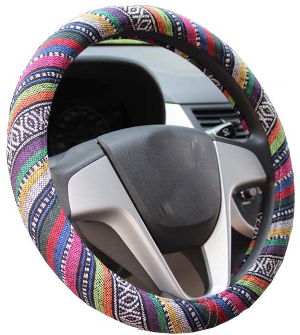 Mayco Bell 2016 Ethnic Style Coarse Flax Cloth Automotive Steering Wheel Cover Anti Slip and Sweat Absorption Auto Car Wrap Cover (B)