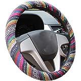 Capa de volante automotiva com tecido grosso de linho estilo étnico da Istn antiderrapante e absorção de suor, capa para carr