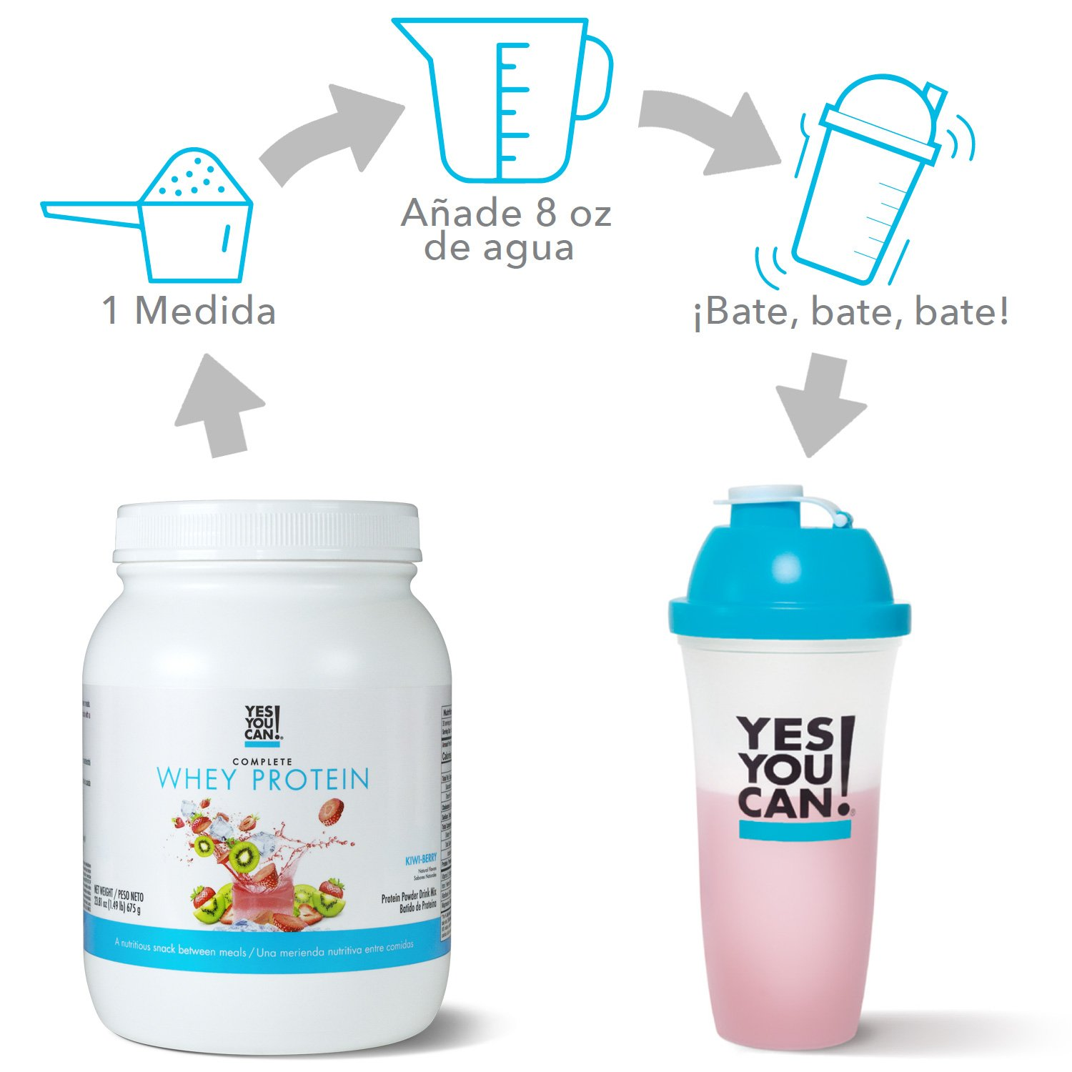 Complete Whey Protein, a Nutritious Snack Between Meals, 15 Grams of Protein, Helps Lose Weight and Build Muscle, Batidos de Proteína Completo para Bajar de ...