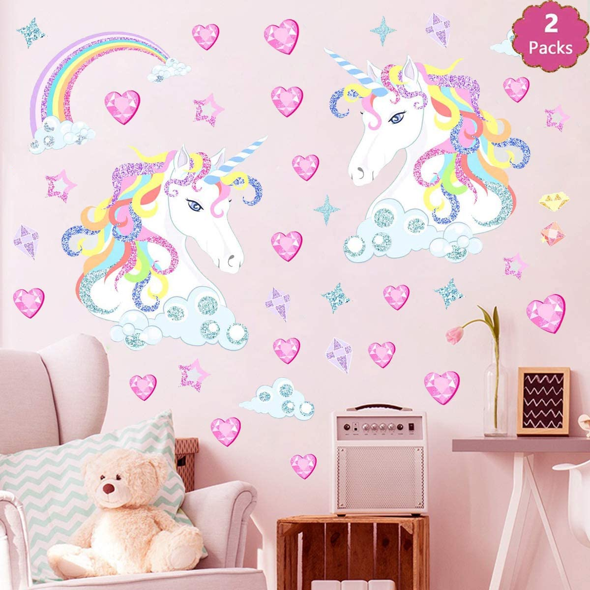 Vinyl Quotes Cartoon Animal Wall Decal Unicorn Rainbow Wall Art Sticker Removal
