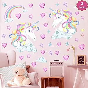 Rainbow Unicorn Wall Decals Gifts for Kids Decor with Hearts Girls Room Wall Stickers Nursery Vinyl Polka Bedroom (2PCS)