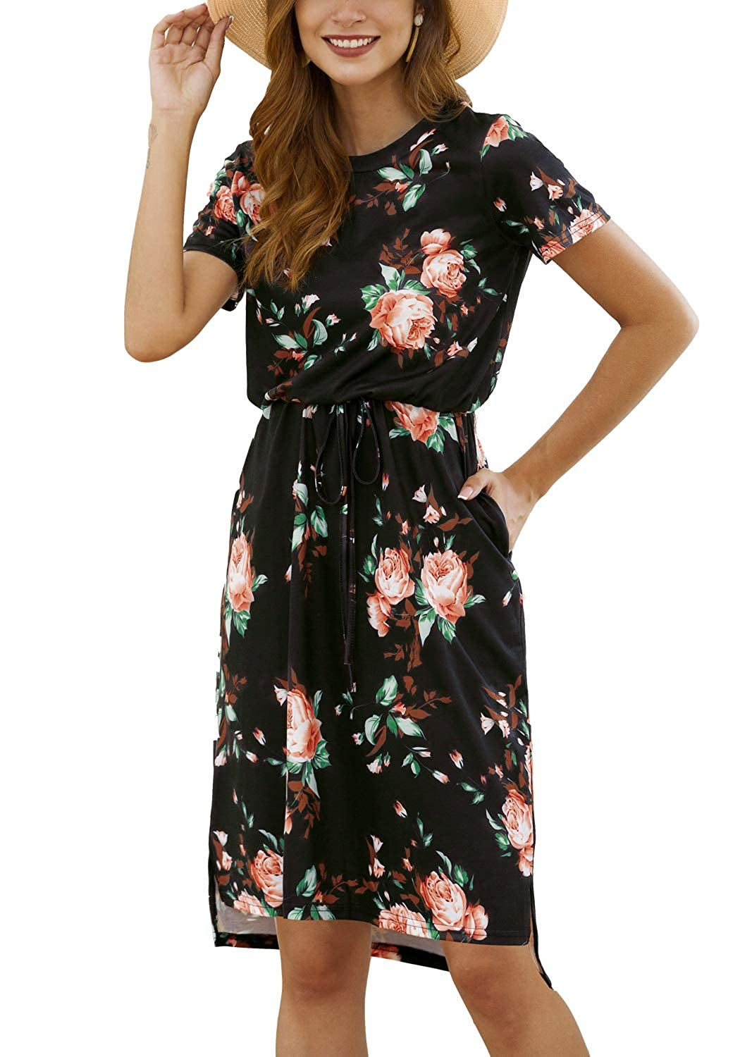 96ddc190439d Kesujin Women's Casual Floral Short Sleeve Dresses Midi Dress with Pockets  at Amazon Women's Clothing store: