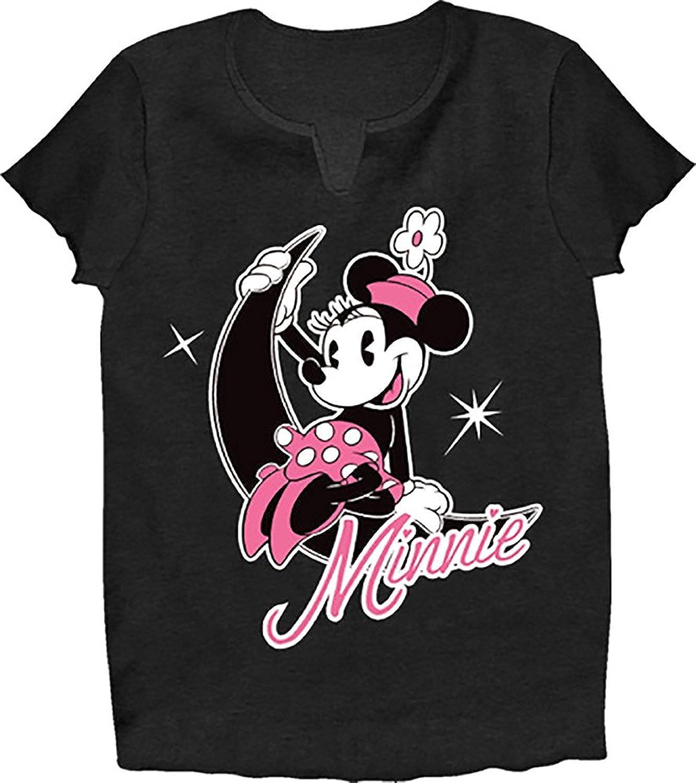 Disney Classic Minnie Mouse Girls Pajama T Shirt Top Black Pink