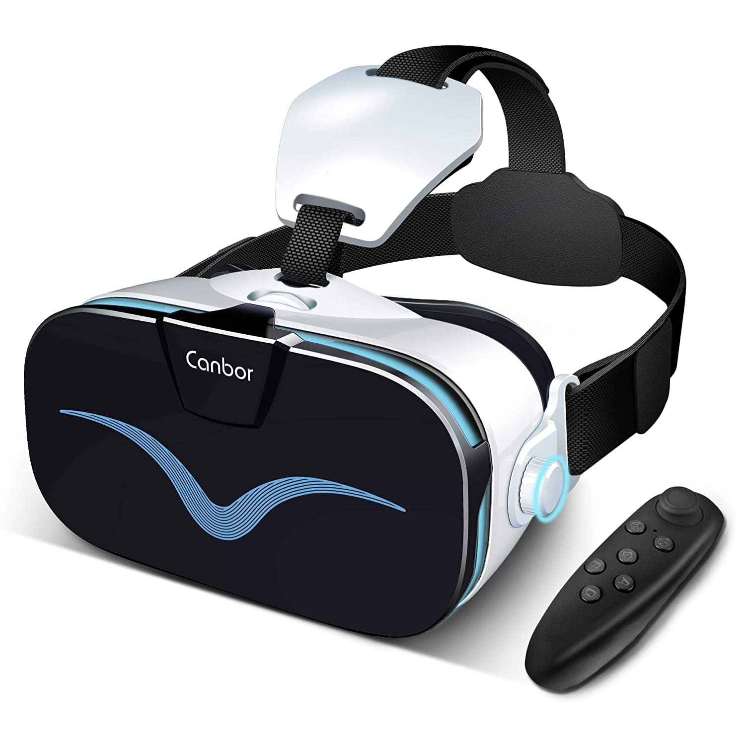Canbor VR Headset with Controller Remote, Virtual Reality Headset 3D VR  Goggles Glasses Compatible with 4 0-6 3 Inches Apples iPhone Samsung Sony  More