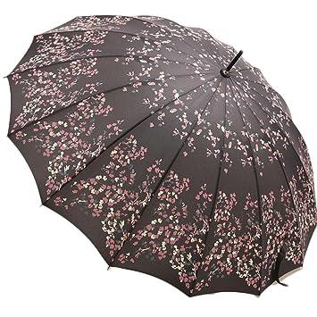 seabecca antiviento paraguas mango largo paraguas rectas, negro