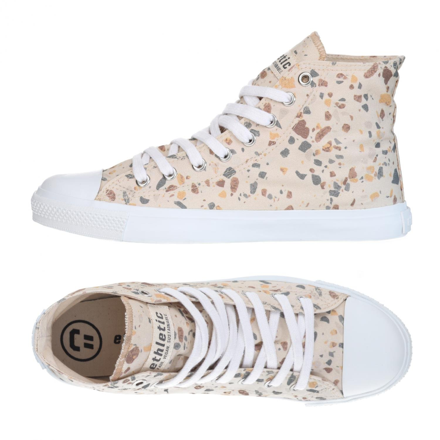 Ethletic Turnschuhe Vegan Hicut Collection Collection Collection 18 - Farbe terrazzo Caramel Weiß Aus Bio-Baumwolle  638ac4