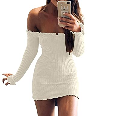 383c3386c60d Rela Bota Women's Sexy Long Sleeve Off Shoulder Ruffled Stretch Mini Bodycon  Knitted Sweater Dresses Small
