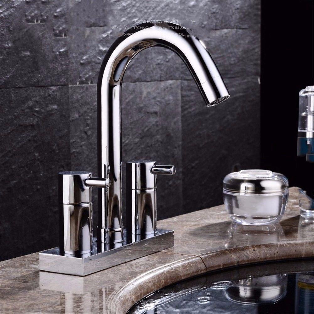 ANNTYE Waschtischarmatur Bad Mischbatterie Badarmatur Waschbecken Messing 2 Bohrungen Heißes und kaltes Wasser 3 Löcher Badezimmer Waschtischmischer