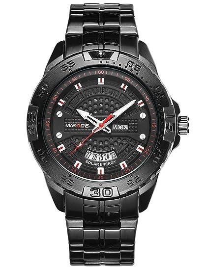 Alienwork Reloj Solar Unisex Relojes Hombre Mujer Acero Inoxidable Negro Analógicos Cuarzo Calendario Fecha Impermeable