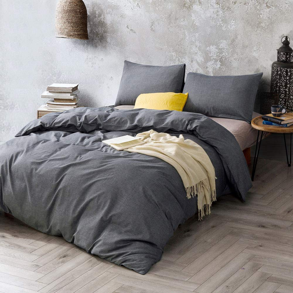 ATsense Duvet Cover Twin, 100% Washed Cotton, Bedding Duvet Cover Set, 3-Piece, Ultra Soft and Easy Care, Simple Style Bedding Set for Kids (Dark Grey 7003-4)