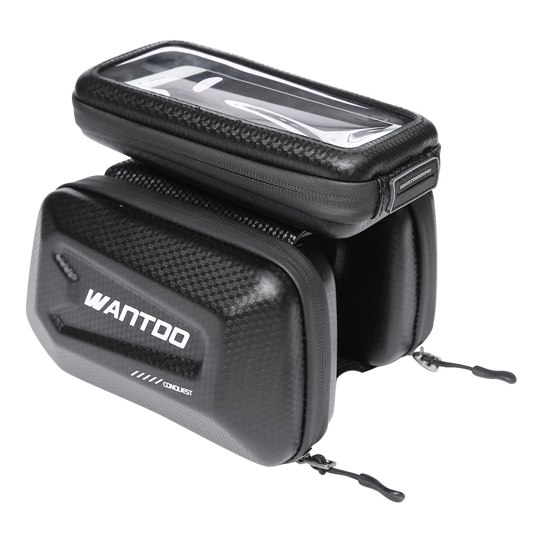 Wantdo Bike Bag Large Capacity Cycling Accessories,Hard Shell Waterproof Big Touch Screen Cell Phone Holder Bicycle Top Tube Bag