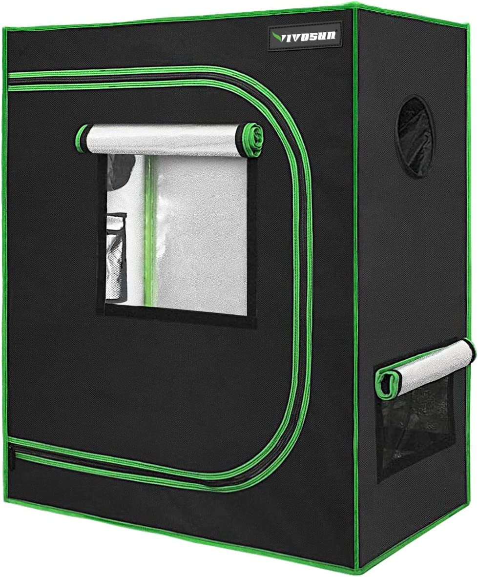 Reflective Mylar Indoor Hydroponic Grow Tent 32x32x63 Inch Appx. 2.6ft x 2.6ft x 5.3ft