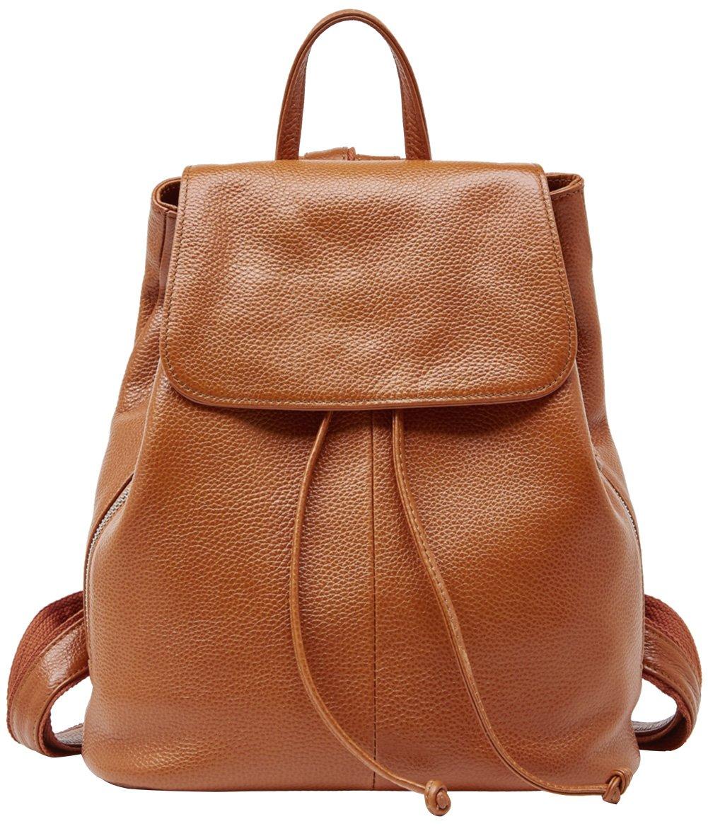 Genuine Leather Backpack for Women Elegant Ladies Travel School Shoulder Bag (11.42'' 12.2'' 5.91'', Orange-Caramel)