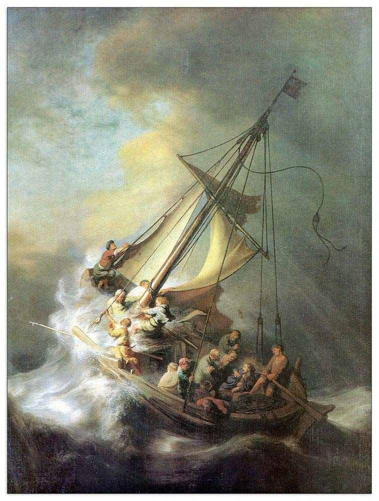 ArtPlaza TW93291 Rembrandt-Christ in a Storm on The sea of Galilee Decorative Panel, 27.5x39.5 Inch, Multicolored