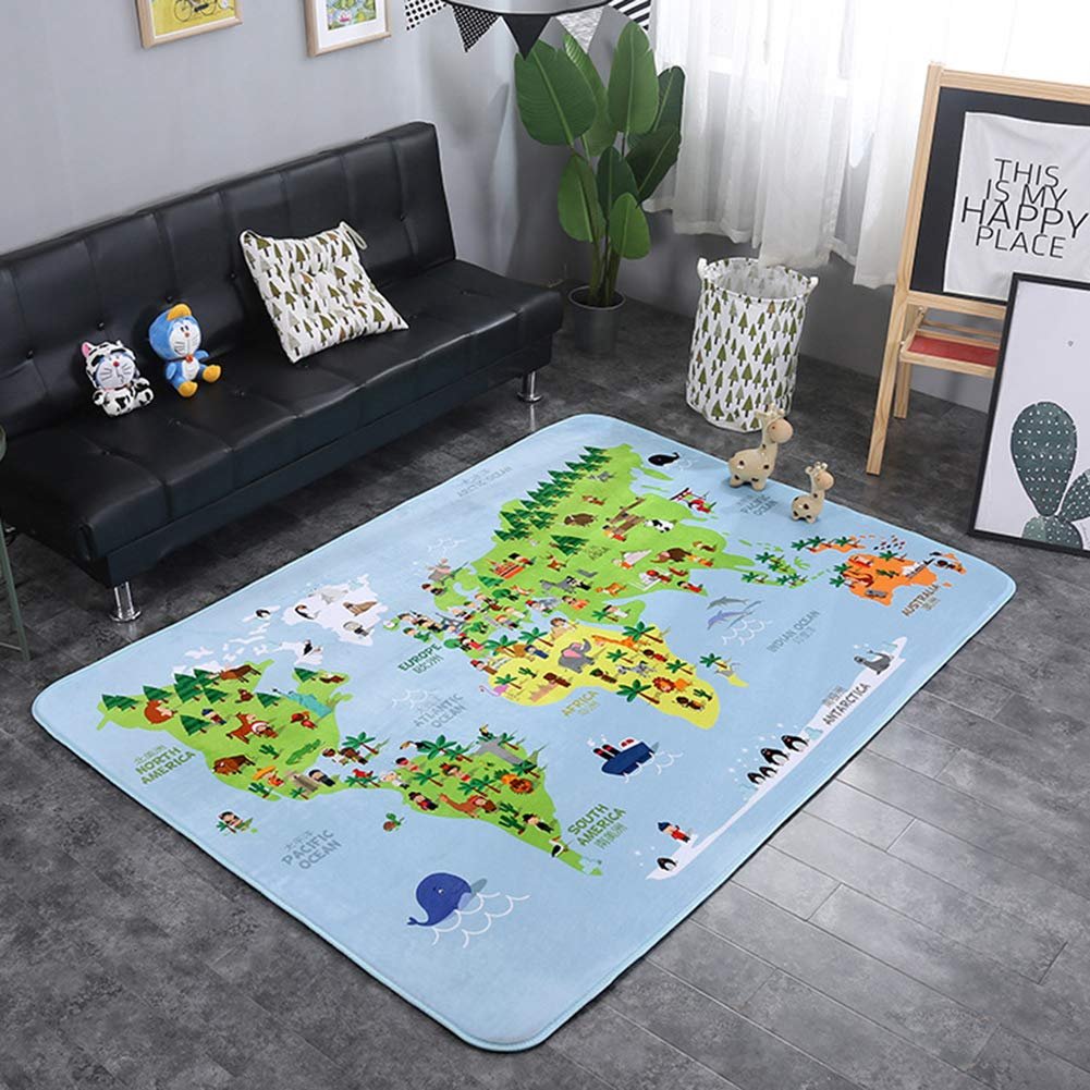 ARTBECK Kids Playmat Baby Educational Area Rug Baby Foam Playmat Extra Large Mat Soft Velvet Activity Rug Non-Slip Learning Carpet for Kids, Infants, Toddler (Playmat B, 4.8 x 6.4 FT)