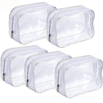 PVC Bolsa Portátil de Maquillaje,Bolsa Cosméticos Transparente 5 Piezas Impermeable Claro Bolsa de Aseo con Cremallera para Vacación Baño y ...