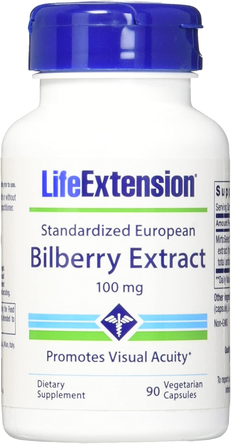Life Extension Bilberry Extract Vegetarian Capsules, 90 Count