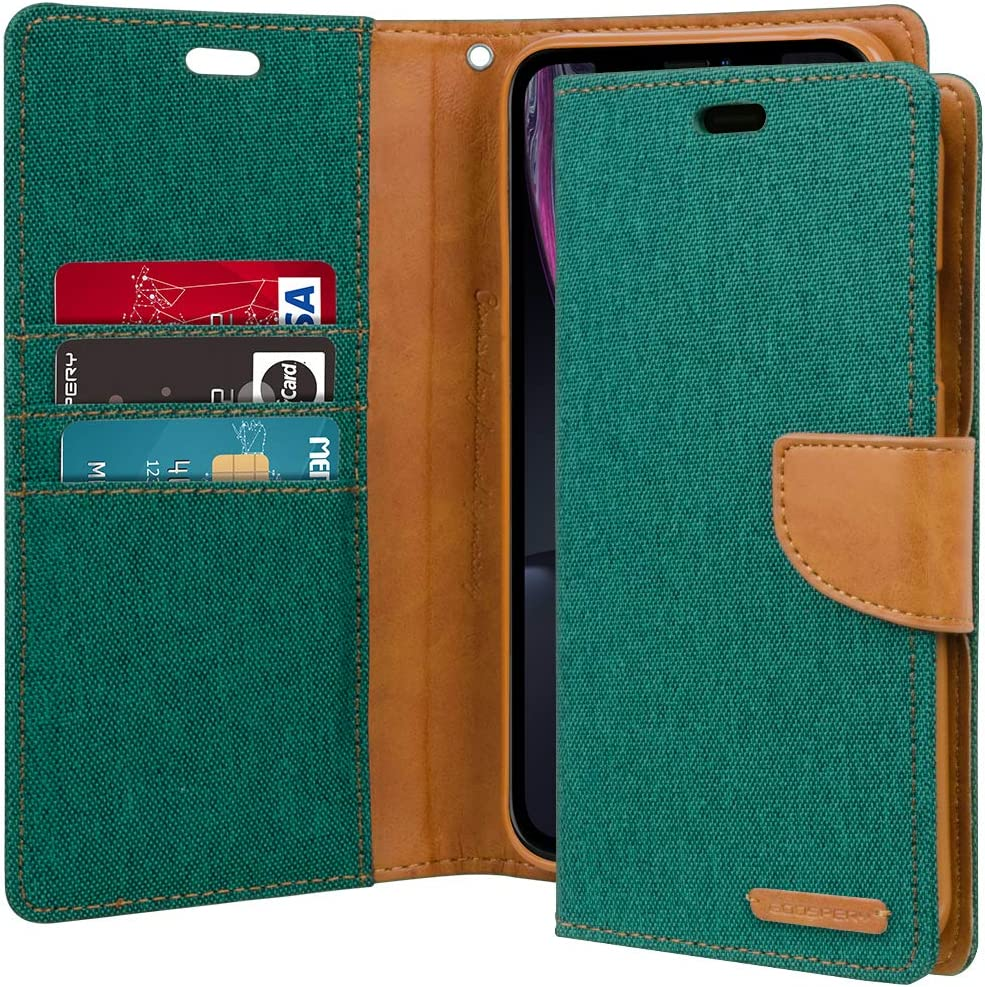 GOOSPERY Canvas Wallet for Apple iPhone XR Case (2018) Denim Stand Flip Cover (Green) IPXR-CAN-GRN