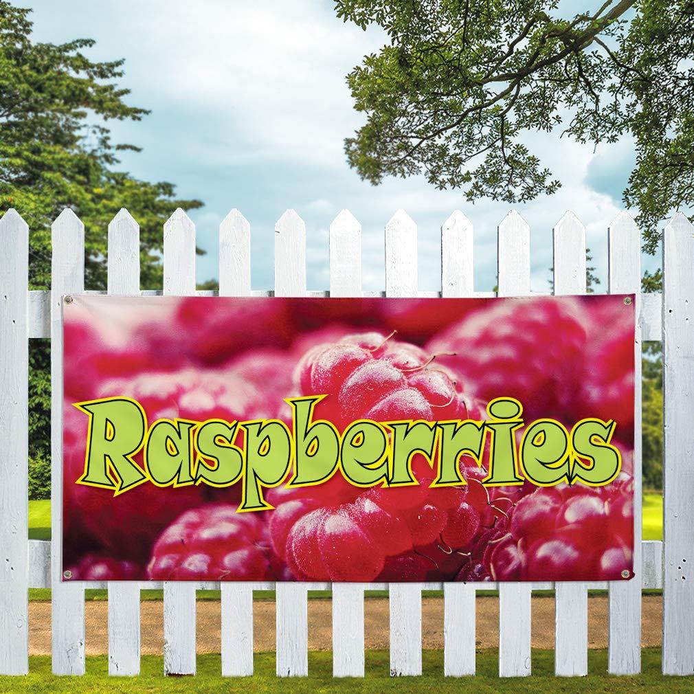 Vinyl Banner Sign Raspberries Business Raspberries Outdoor Marketing Advertising Red Set of 2 4 Grommets 28inx70in Multiple Sizes Available