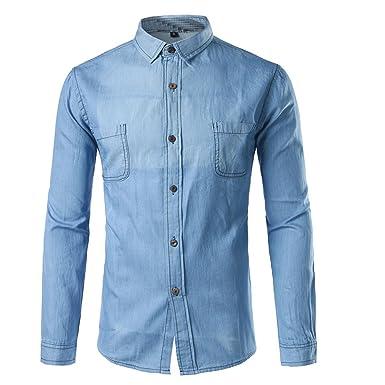 ae62658ec0b LOKOUO Denim Shirt Men NEW New Classic Long Sleeve Pocket Denim Shirts  Casual Slim Fit Washed