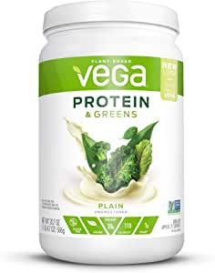 Vega Protein & Greens Plain Unsweetened (21 Servings, 20.7 Ounce) - Plant Based Protein Powder, Keto-Friendly, Gluten Free, Non Dairy, Vegan, Non Soy, Stevia Free, Non GMO - (Packaging may vary)