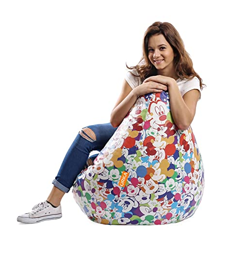 Orka Mickey Mouse Digital Printed XXL Bean Bag With Beans Multicolor