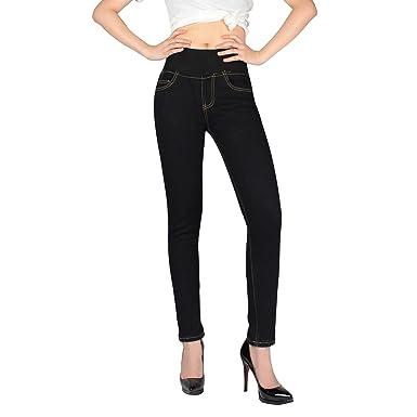 Invierno de las mujeres Slim Fit Fleece forrado flaco estiramiento Jeans apretados Cintura alta gruesos pantalones vaqueros de mezclilla Pantalones ...