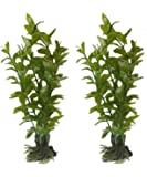 2 Pack - 6 Inch Green Ludwigia Artificial Plants For Tropical Fish Aquariums & Terrariums. Great For Angel Fish & Tetras!