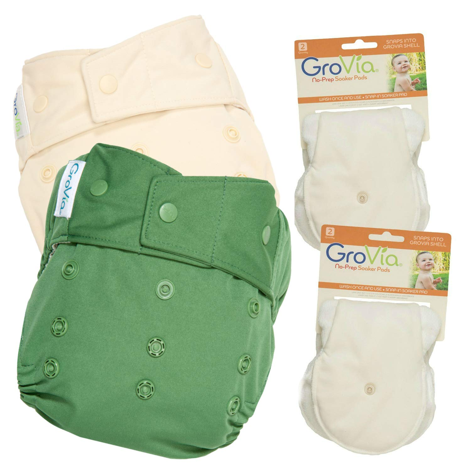 GroVia Experience Package: 2 Shells + 4 No Prep Soaker Pads (Color Mix 2 Snap)