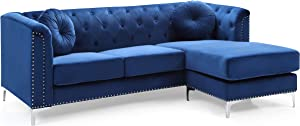 """Glory Furniture Pompano Sofa Sectional, Navy Blue. Living Room Furniture, 31"""" H x 70"""" W x 58"""" D"""