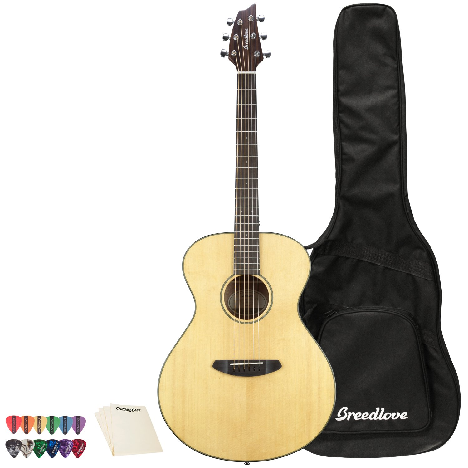 Breedlove Discovery Series 6-String Concertina Sitka-Mahogany Acoustic Guitar with ChromaCast 12 Pick Sampler and Polish Cloth, Right Handed(DSCA01SSMA-KIT-1) by Breedlove