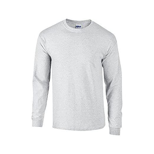 Amazon.com  Gildan Mens Plain Crew Neck Ultra Cotton Long Sleeve T ... 19db4b78b02c