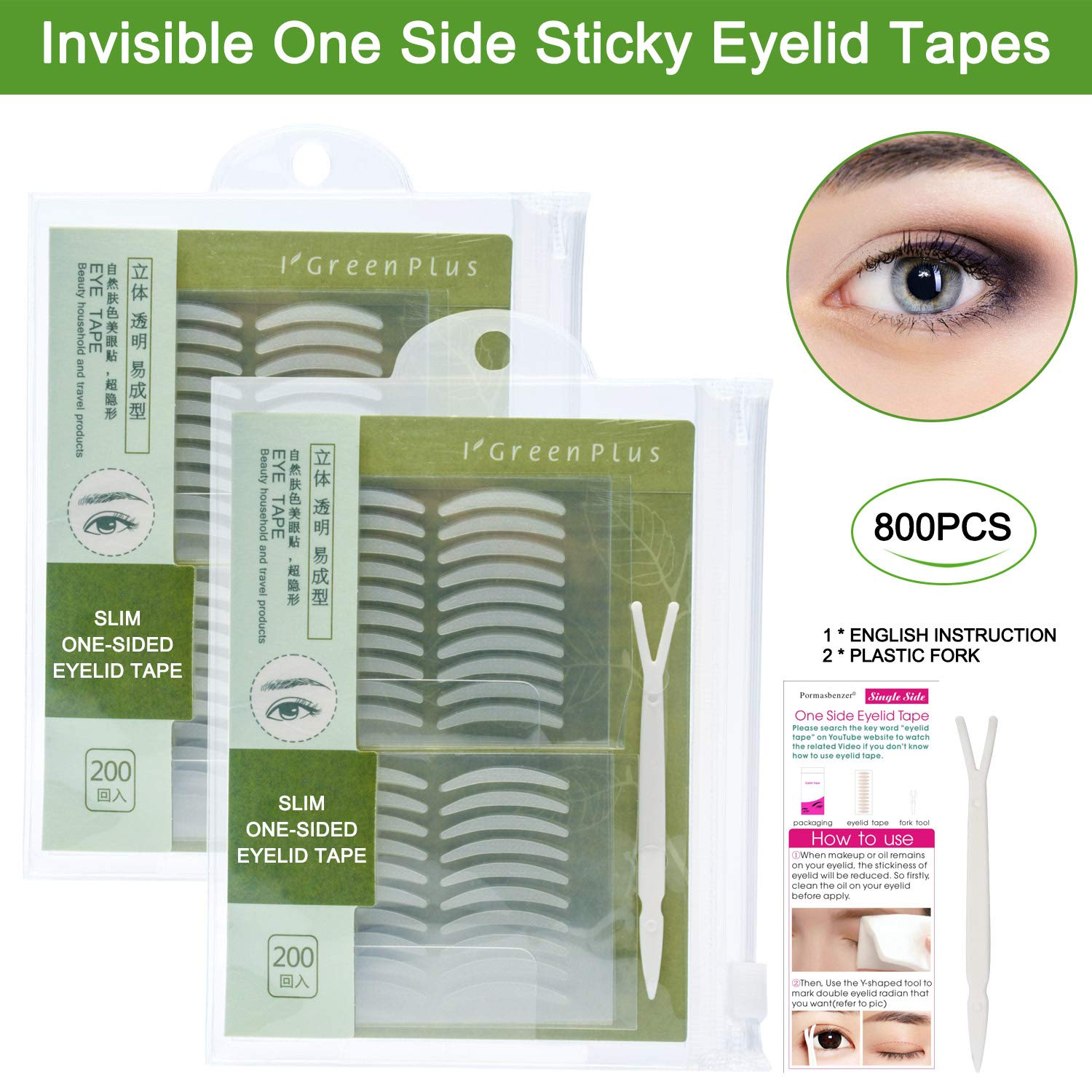 800 Pcs Natural Invisible Double Eyelid Lift Strips Waterproof One Side  Eyelid Tape Stickers, Instant Eye